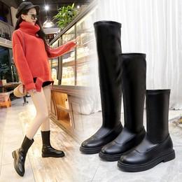 长靴女过膝2018新款冬加绒平底皮靴百搭长靴子韩版粗跟马靴长筒靴