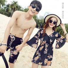 Retro Couple Swimsuit Set Bikini Three-piece Swimsuit Female Conservatism Covered Sea Beach Couples Swimwear