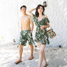 Dark green retro couple swimwear female bikini three sets of thin cover belly hot spring beach couple swimwear