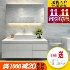 Nordic washbasin bathroom cabinet combination PVC cabinet mirror cabinet modern minimalist bathroom cabinet bathroom vanity