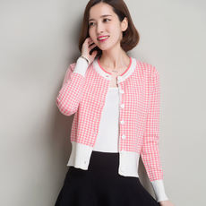 Spring new women's short paragraph houndstooth cashmere cardigan round neck long sleeve fashion sweater coat