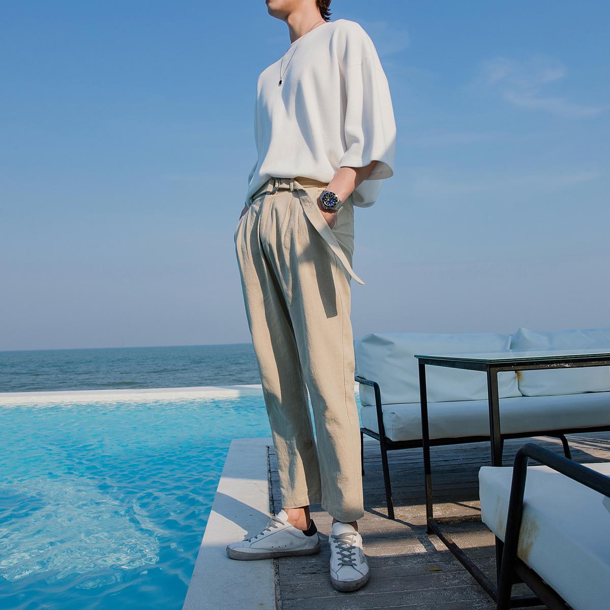 西西里男装夏季裤子男韩版潮流直筒九分裤棉麻休闲裤坠感工装裤