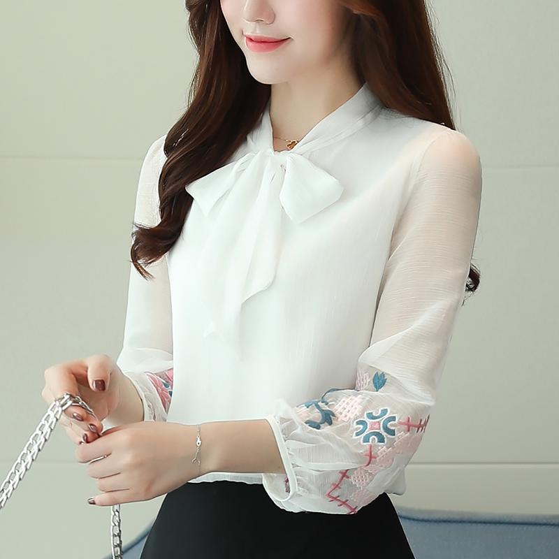 遮肚子雪纺衫女夏长袖刺绣宽松薄款白色衬衫灯笼袖蝴蝶结上衣不透