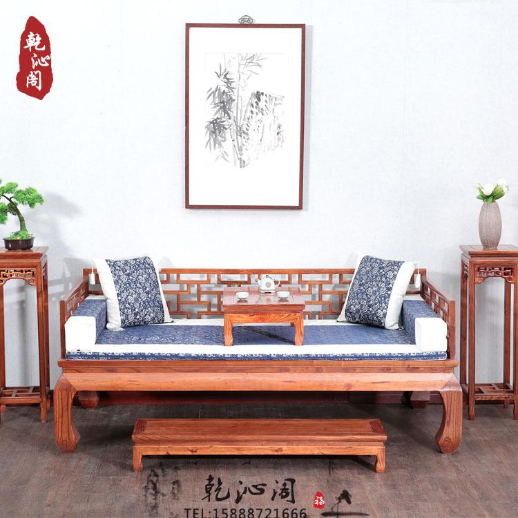 罗汉床实木仿古1米床1.2m1.5m床南榆木中式床榻组合特价沙发