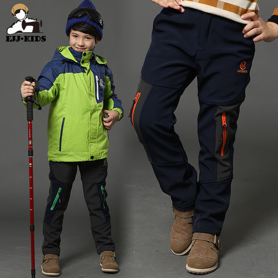 Boys pants plus velvet spring and autumn children's ski pants windproof outdoor thickening children soft shell charge trousers