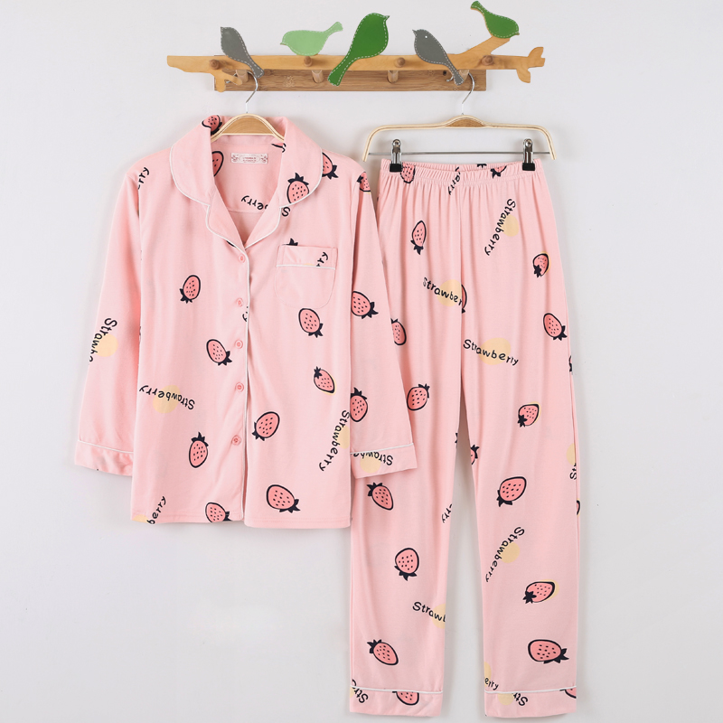 春秋季韩版开衫纯棉长袖女款睡衣套装甜美可爱卡通休闲秋款家居服