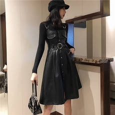Hong Kong flavor 2018 new retro straps waist PU leather skirt strap skirt fashion casual long dress female