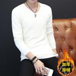 秋冬季韩版白色毛衣男加绒加厚V领套头纯色青年修身针织衫打底衫