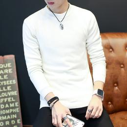 春季男士圆领纯色青年毛衣男白色韩版修身针织加厚款加绒打底毛衫