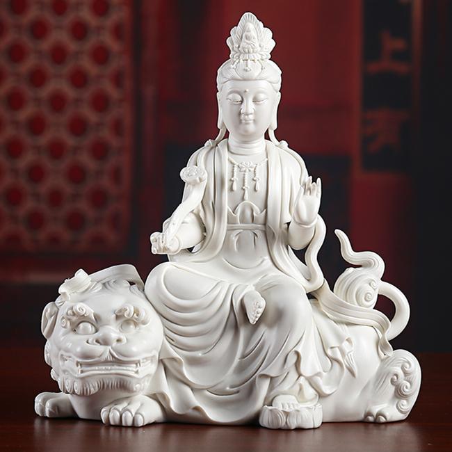 陶瓷佛像 德化白瓷纯手工文殊菩萨 普贤菩萨摆件 上釉素烧d20-109