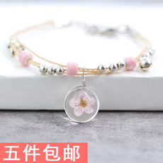Dried flower bracelet female Korean version of the glass ball eternal flower plant specimens sweet girlfriends simple small fresh jewelry wholesale
