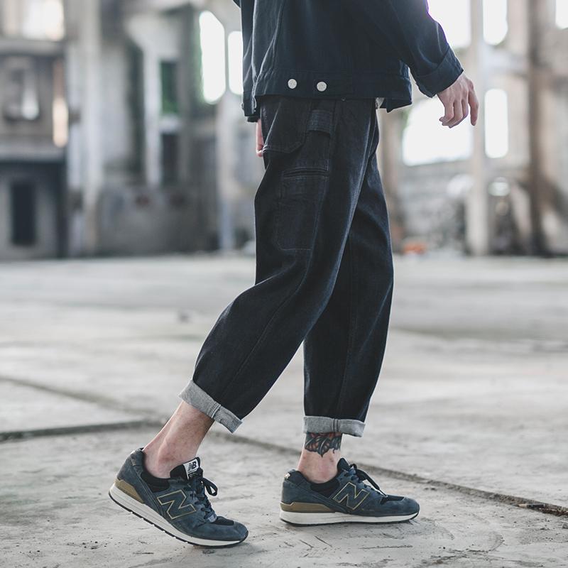 秋季日系街头潮流小脚裤复古牛仔裤男青年直筒水洗休闲长裤