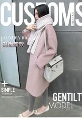 2017秋冬新款韩版呢子大衣修身女士藕粉色过膝中长款毛呢外套女冬