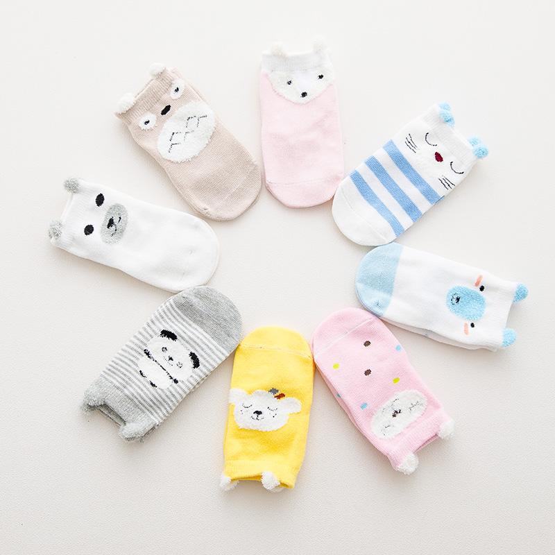 韩版卡通全棉儿童袜子羽毛纱手工缝头宝宝袜子立体耳朵防滑地板袜