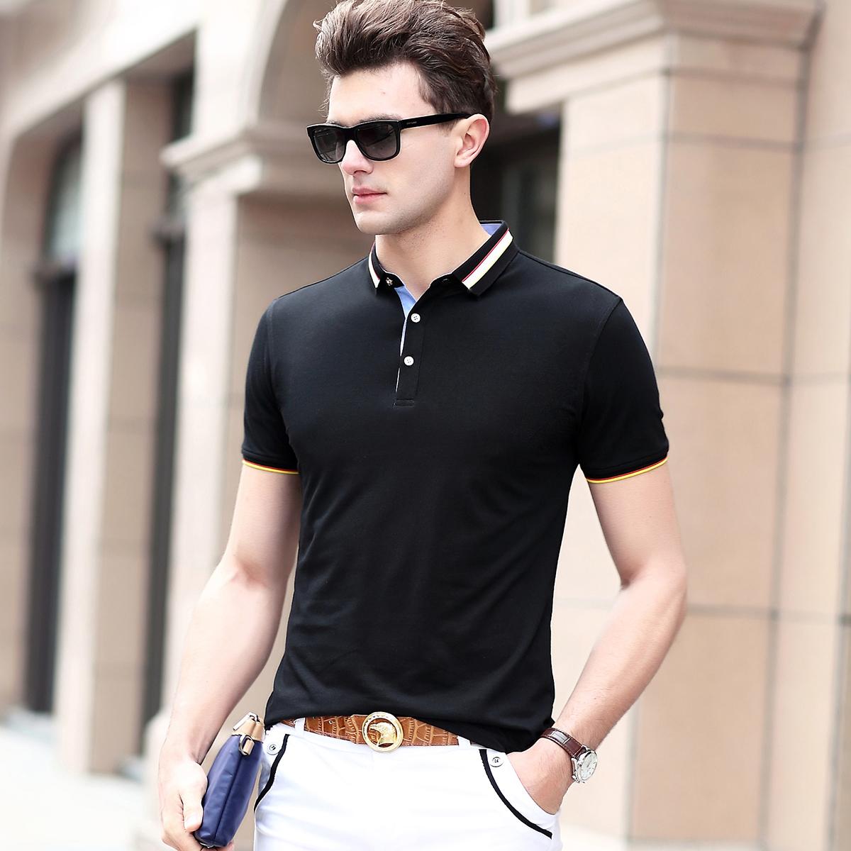 啄木鸟男装短袖t恤男士商务休闲中青年时尚翻领撞色polo衫夏装潮