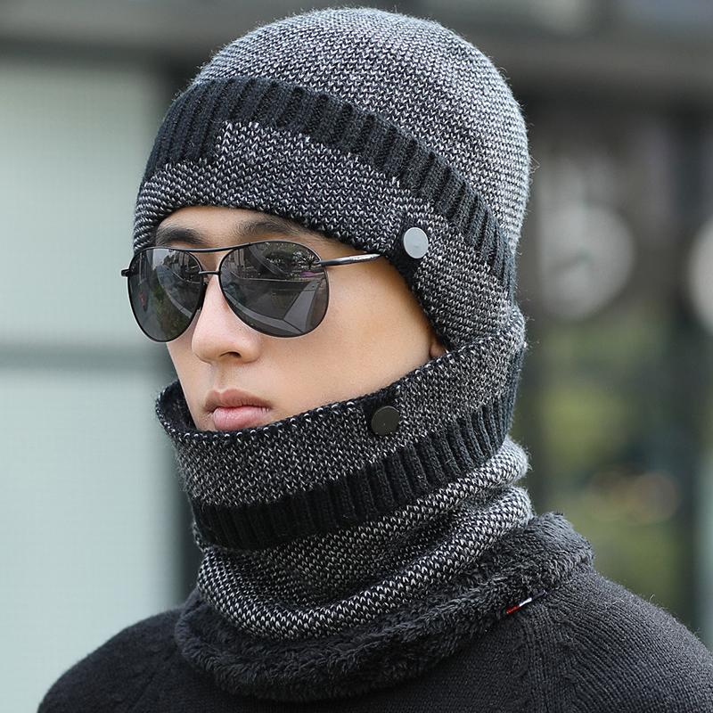 帽子男冬天青年韩版毛线帽冬季保暖百搭护耳针织帽学生骑车棉帽子