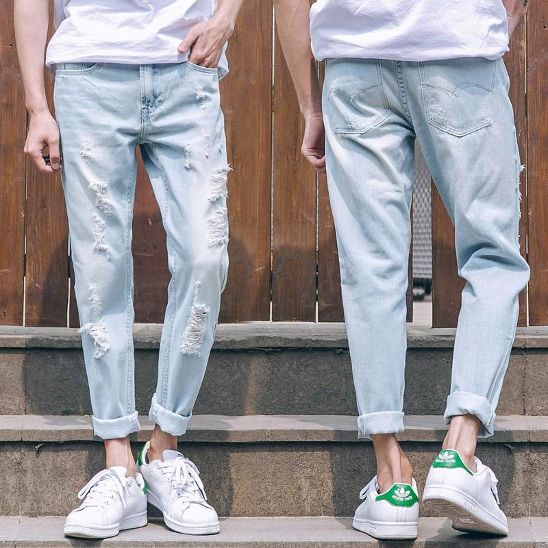 夏季浅色牛仔裤男破洞九分裤乞丐薄款韩版潮流修身小脚裤直筒裤子
