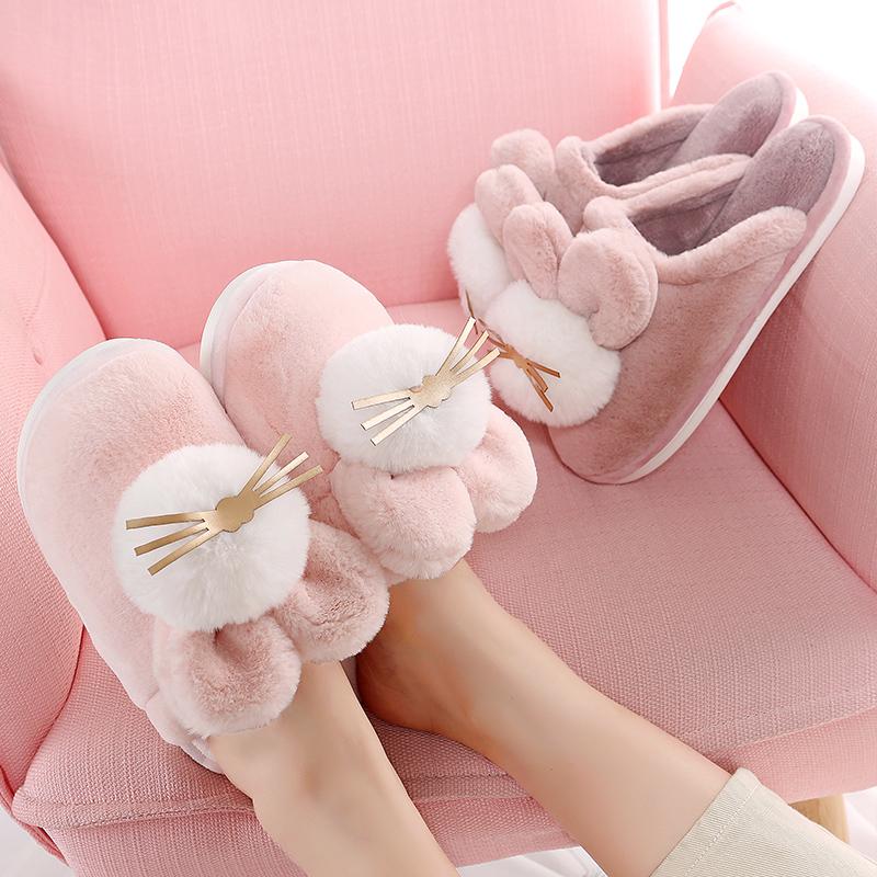 棉拖鞋女冬季可爱毛绒拖鞋包根室内家用情侣家居卡通保暖棉拖鞋男