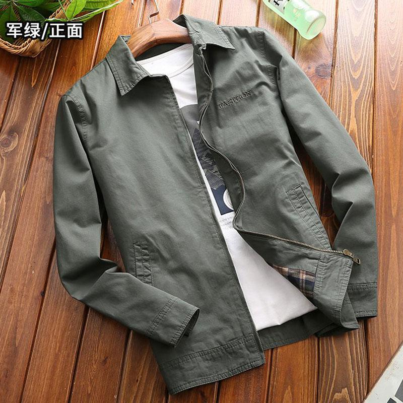 NIANJEEP/吉普盾新款中年全棉翻领爸爸装休闲秋季薄外套夹克衫