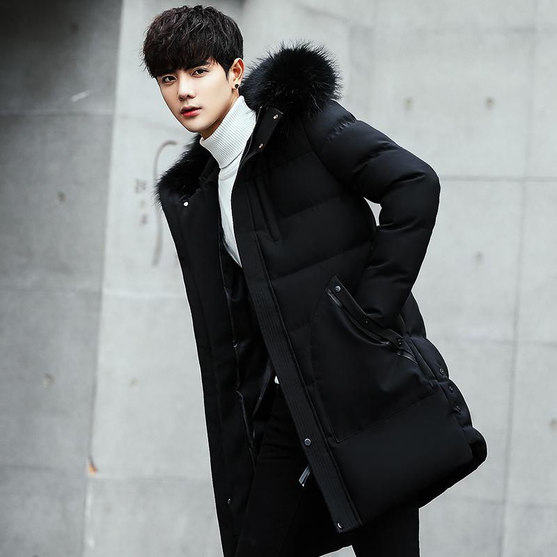 棉衣男中长款韩版2017新款加绒加厚修身棉袄羽绒棉服男士冬季外套