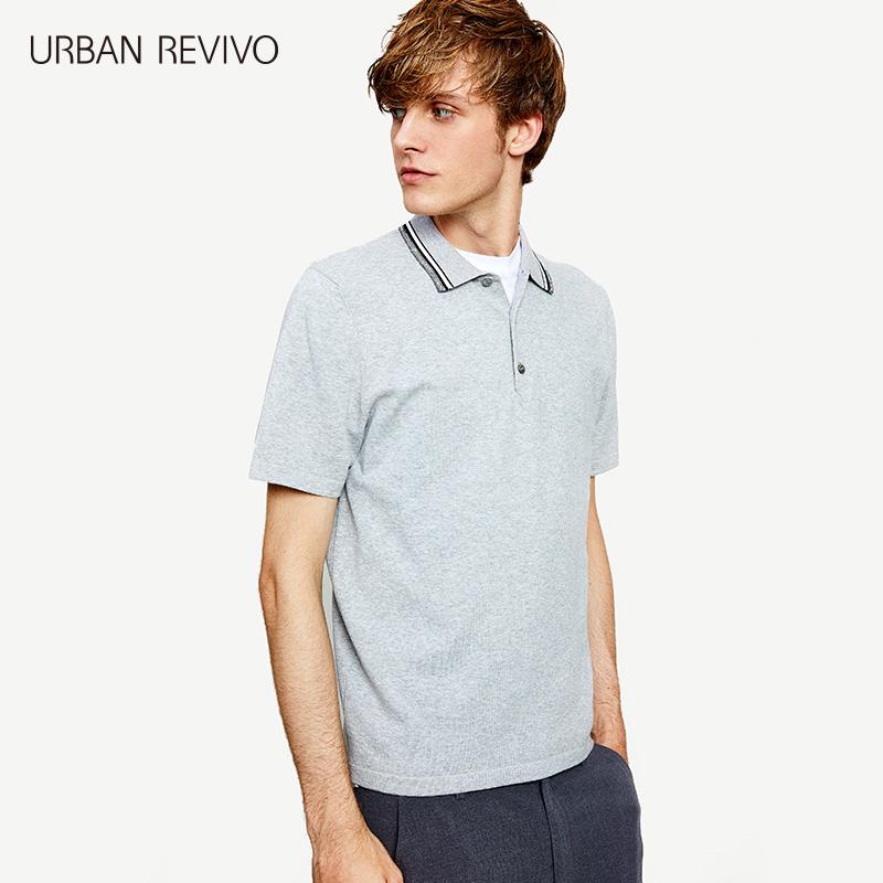 UR2018夏季新品男装修身条纹饰翻领纽扣短袖针织T恤MF13S9BN2002
