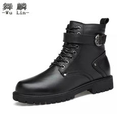 New first layer leather tooling boots Martin boots British short boots couple models increased 8cm high shoes military boots