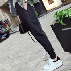 Sports pants female spring and autumn 2019 new students Korean version of the loose feet harem pants wild radish casual pants summer