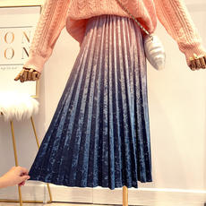Autumn and winter new romantic color gold velvet pleated skirt female 2018 Han Fan high waist was thin gradient bright color skirt skirt tide