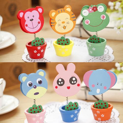 韩国创意文具可爱卡通动物木质小花盆留言名片夹便签夹子礼品学生