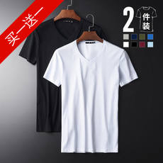 2 Pieces Summer Thin section Seamless Ice silk V-neck Short-sleeved t-shirt Men's Slim bottoming shirt Pure color Fat Large-size shirt