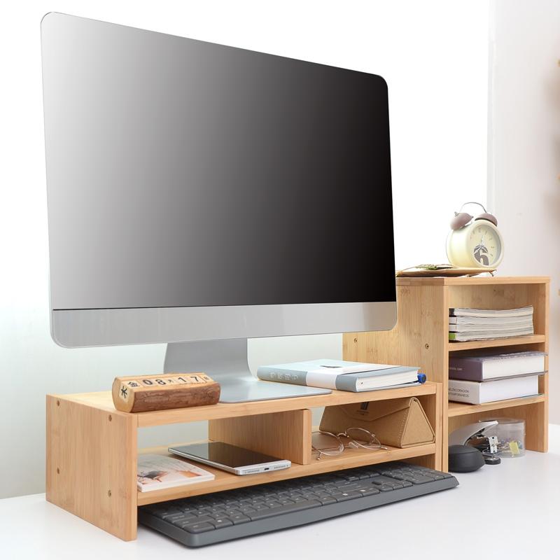 楠竹电脑显示器增高架显示屏垫高底座支架桌面收纳置物架电脑架子