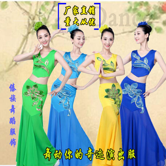 New Dai dance costumes adult female fishtail skirt long skirt examination level training national peacock dance performance clothing