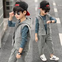 童装男童春装套装2019新款儿童帅气马甲春秋季韩版洋气运动三件套