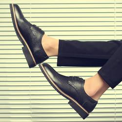 秋冬季新款布洛克英伦休闲商务韩版百搭潮鞋潮流男士小皮鞋子真皮