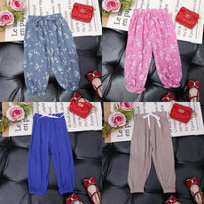 Baby mosquito-proof pants summer thin section female girl cotton and linen children anti-mosquito pants boys trousers bloomers