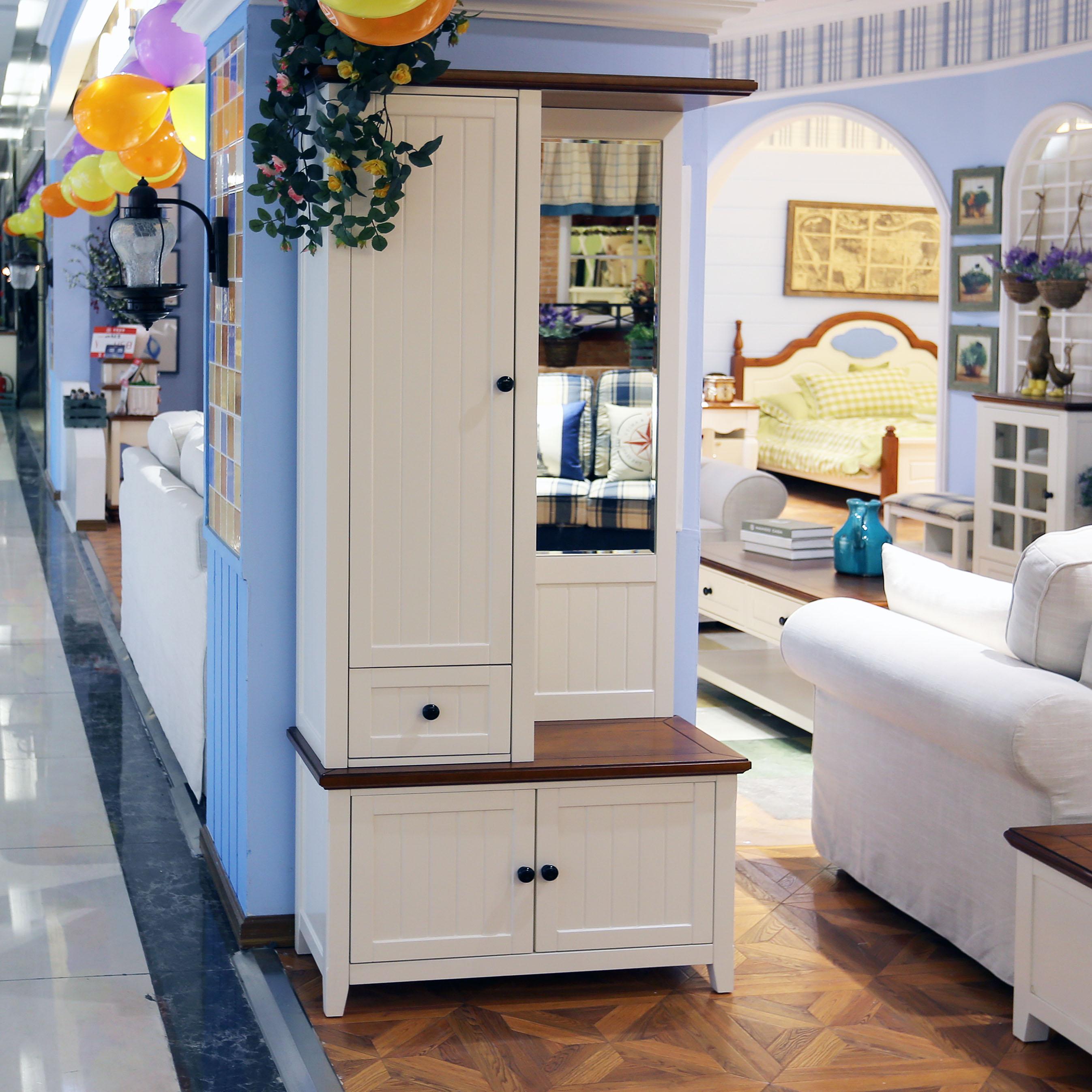 北美枫情美式地中海实木门厅柜换鞋柜 特价穿衣镜门厅换鞋凳图片
