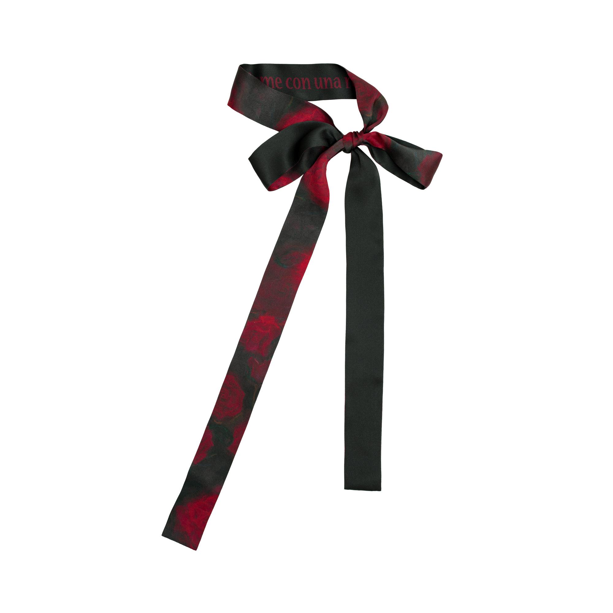 双成记加西亚系列红黑玫瑰纪念印花真丝缎面细丝巾领带复古设计