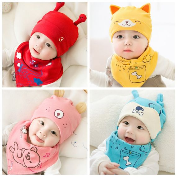 Baby hat spring and autumn young children's headgear 0-3-6 months newborn boys and girls baby baby hat thin section