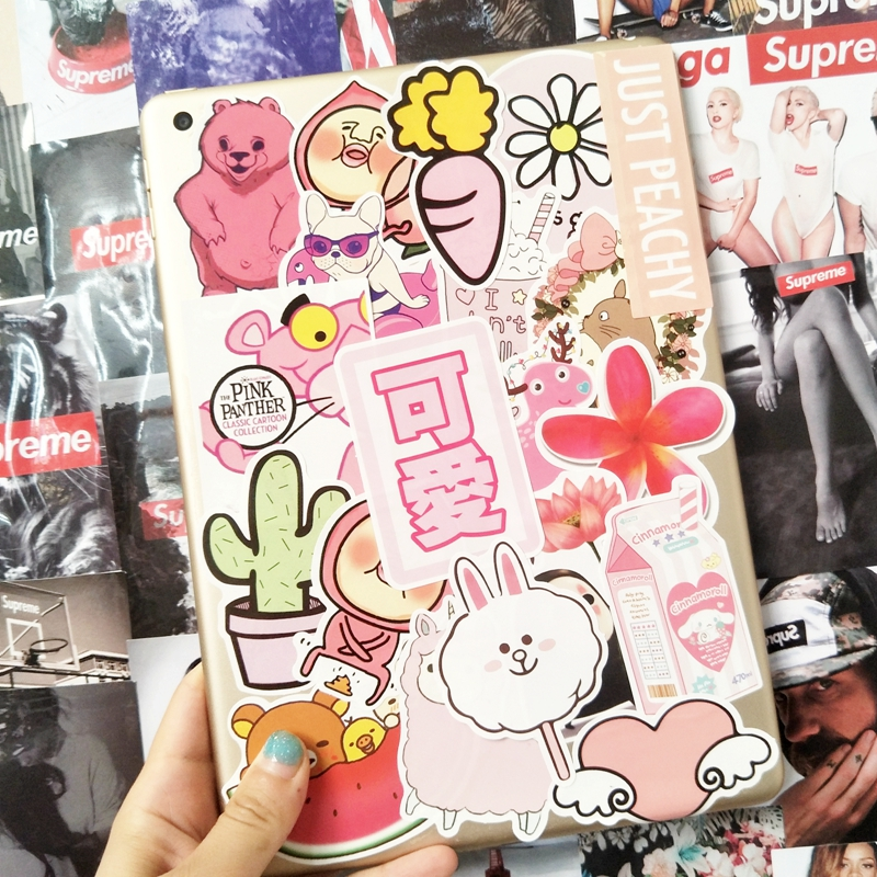 粉色可爱少女系贴画行李箱拉杆旅行箱滑板吉他手机笔记本电脑贴纸