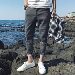 夏季薄款九分裤男士牛仔裤修身韩版潮流弹力小脚男生春季9分裤子