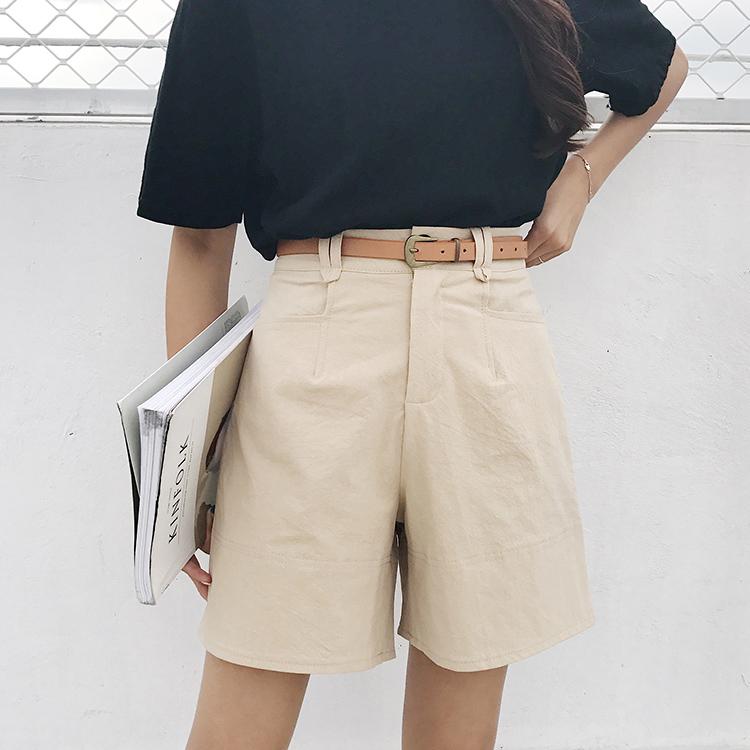 复古韩版chic风高腰显瘦西装休闲五分短裤阔腿裤学院风裤子送腰带