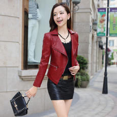 Huimanni 2017 autumn new leather female short Slim leather jacket fashion ladies washed PU leather jacket