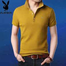 Playboy Summer Cotton Short Sleeve T-Shirt Men's Casual Lapel Solid Color T-Shirt Youth Trend Polo Shirt