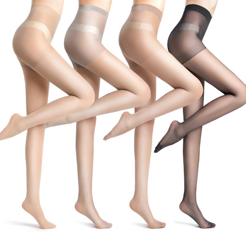 丝袜女薄款防勾丝菠萝连裤袜夏天季光腿神器黑肉色超隐形长筒袜子