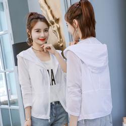 防晒衣女学生韩版2018夏季新款短款纯色连帽透气长袖防晒服薄外套