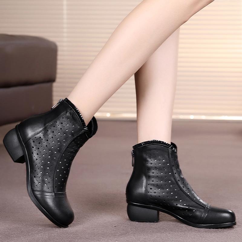 头层牛皮真皮中跟鞋粗跟短靴镂空网靴春秋靴女鞋单靴单鞋短筒女靴