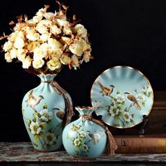 美式客厅花瓶盘子家居工艺样板间小摆件装饰品摆饰展示柜家用欧式