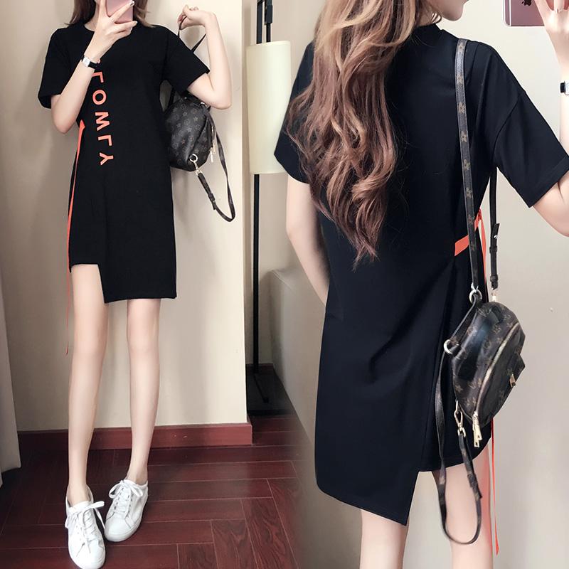 连衣裙2019新款夏季圆领套头纯棉中长款宽松显瘦短袖t恤裙女裙子