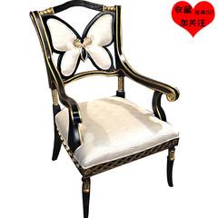 新古典家具实木蝴蝶休闲椅别墅大宅餐椅餐厅扶手椅轻奢书椅