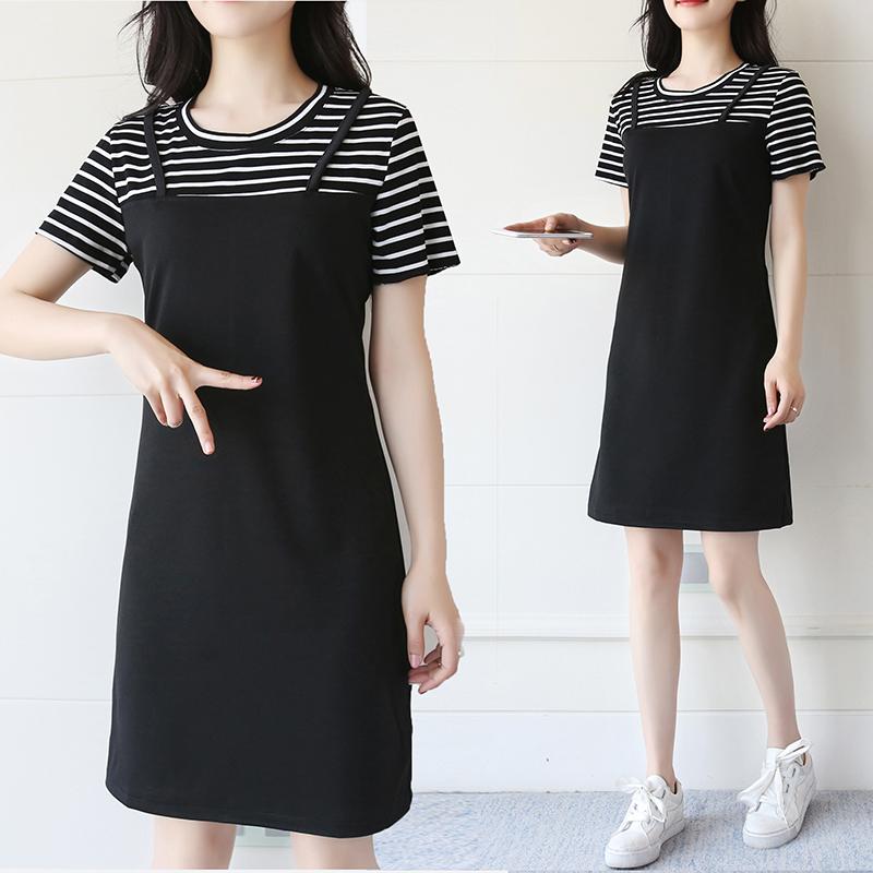 闺蜜装套装2019新款夏季连衣裙流行女装韩版假两件T恤裙背带短裤